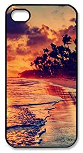 iPhone 5 5S Case, iCustomonline Sunset Beach Shell Back Case Cover Skin for iPhone 5 5S - Black