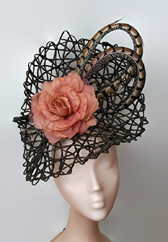 Brown and nude fascinator-Pheasant feather fascinator peach-Nude derby hat-Beige  wedding 7fb9b698f35