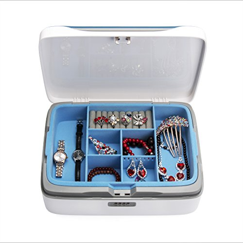 Jewelry Box Organizer Locable Storage Case Drawer 2 Layers Holder Cabinet Combination Necklace Earrings Expensive Display CaseJewellery Box Organizer Locable Storage Case Drawer 2 (jewelry box Blue) by EVERTOP (Image #4)