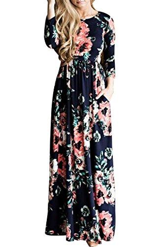 OMZIN Vestido Largo de Manga Corta Imperio con Estampado Floral para Mujer S-3XL Azul Marino Manga Largas