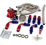 Universal Adjustable EFI Aluminum Fuel Pressure Regulator Kit w/ 60 - 160 Psi Gauge An6 -6an Fuel Line Hose Fittings Red