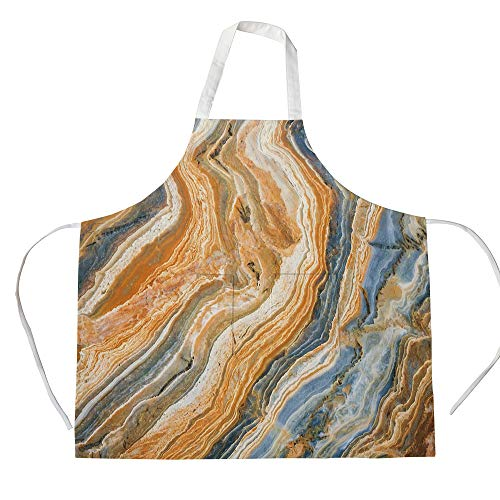 iPrint Cotton Linen Apron,Two Side Pocket,Marble,Colorful Rock Quartz Surface Background Formation Abstract Picture Decorative,Slate Blue Orange Apricot,for Cooking Baking Gardening