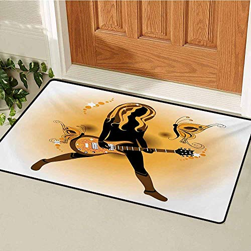 Popstar Party Welcome Door mat Girl Silhouette with Hairstyle and Butterflies Playing Guitar Door mat is odorless and Durable W31.5 x L47.2 Inch Orange Brown Dark Brown