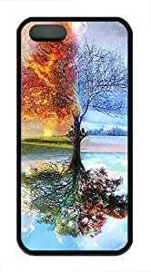 Apple iPhone 5 Cases, Apple iPhone 5S Case/Cover Designs Four Seasons Design TPU Rubber Soft Back Case for iPhone 5/5S - Black