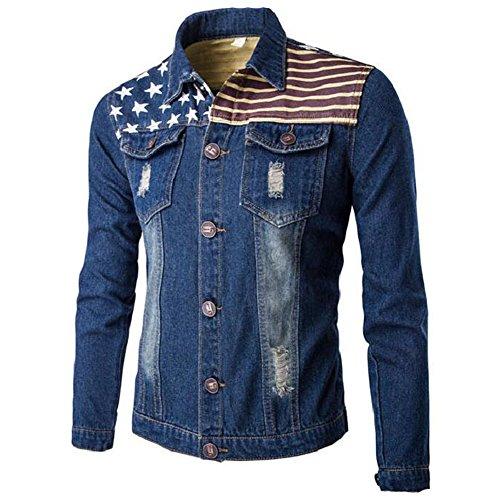 Jinsey Men's Damage Jeans Denim Jacket Bomber Jacket