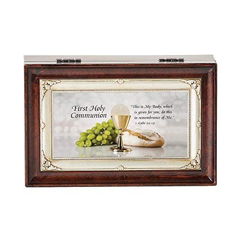 Antiqued Champagne Finish - Roman Music Boxes - First Communion Burled Wood Finish with Antiqued Champagne Insert Music Box - Plays Amazing Grace