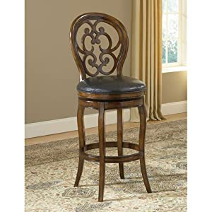 hillsdale furniture 63885 alexandra 48 swivel bar stool with gothic inspired scroll work in dark alexandra furniture