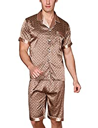 Yanqinger Mens Luxury Silk Nightwear Pajama Set Short Sleeve Loungewear Top & Pants Boxer