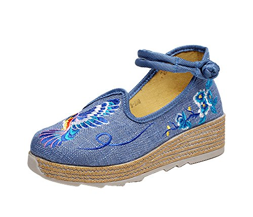 AvaCostume Womens Blue Bird Embroidery Round Toe Platform Dress Shoes Blue uu9EJ