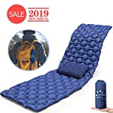 FRUITEAM Ultralight Sleeping Pad for Backpacking Camping with Pillow Lightweight, Inflatable, Compact, Durable TPU Inflating Sleeping Pad Air Mattress (Navy Blue, Single)