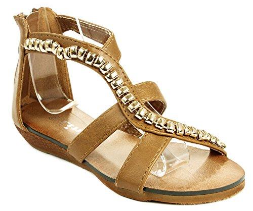 (Rebel-13 Kids Tan Golden Bead Leatherette Strappy Gladiator Roman Wedge Dress Sandal Shoes-10)