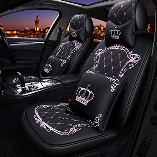 Lykaci Car Seat Covers Set Leather, Universal 5 Seats Seat Cushions for the front seats and rear seat Seats Seat cover with cushions (Color : Pink):