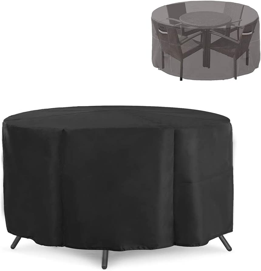 "LBW Patio Furniture Covers Outdoor Table&Chair Set Cover Waterproof UV Protection Anti-Fading Outdoor Furniture Cover 70"" D x 23"" with Storage Bag"