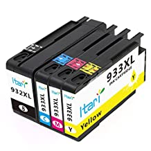Itari 4-Pack Compatible Ink Cartridge Replacement for HP 932 933 XL 932XL 933XL Combo Use in HP OfficeJet 6100 6600 6700 Premium 7100 7610 7612 Printer - Black / Cyan / Magenta / Yellow