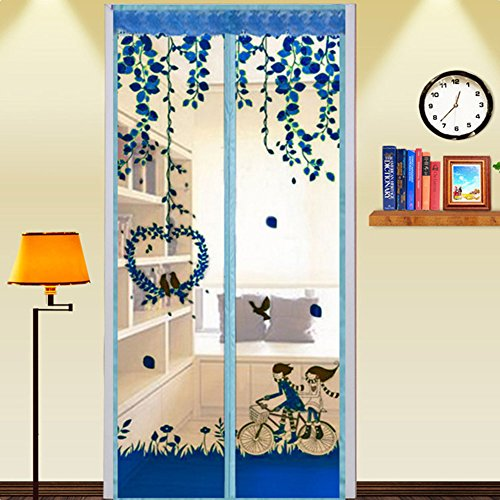 (Magnetic Screen Mesh Curtain Anti Mosquito Fly Insect Bug Pest Door Curtain Net Anti Insect Mosquito Encrypt Screen Protector Summer Accessory 90X210cm(Blue))
