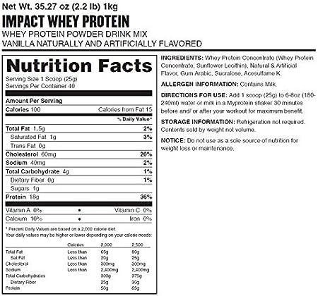 MyProtein Impact Whey Protein Suplemento, Sabor Vainilla - 1000 gr