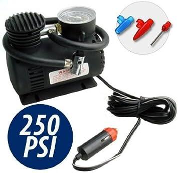 Takestop® Mini compresor negro 12 V 250 PSI con toma de mechero para coche moto camper camping pequeño ligero y portátil emergencia: Amazon.es: Electrónica