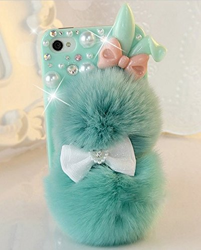 cheap for discount fc436 61830 iPhone 7 Case, Cartoon Animal Bunny 3d Green Glitter Bling Crystal  Rhinestone Cute Girly Hard Phone Protective Puffy Fuzzy Fur Ball Prime Bow  Softball ...