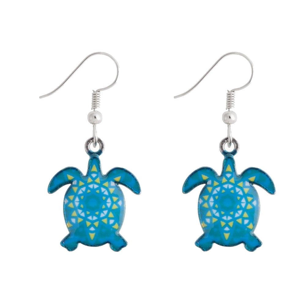 Drop Earring Turtle Made With Enamel /& Tin Alloy by JOE COOL