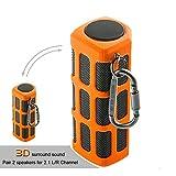Hapyia Outdoor Wireless Portable Bluetooth Speaker Waterproof, Pair 2 speakers for 3D Stereo Surround Sound [New Release] - One Speaker (Orange)