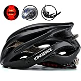 Cheap KINGBIKE Adult Bike Helmet Ultralight with Helmet Rain Cover and Safety Rear Led Light for Men Women (Black)