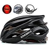 KINGBIKE Ultralight Specialized Bike Helmets with Safety Rear Led Light + Portable Helmet Backpack + Detachable Visor for Men Women(M/L,L/XL)