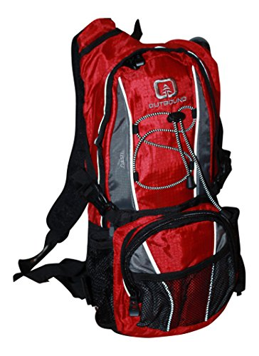 Outbound Dash 2 Liter BPA Free Hydration Pack with Bladder Red and Black