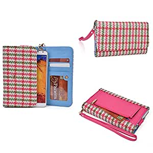 Archos 53 Titanium Wallet Wristlet Clutch With Hand Strap and Credit Card Slots| Houndstooth: Houndstooth: Pink Streak, Cedar Green, White