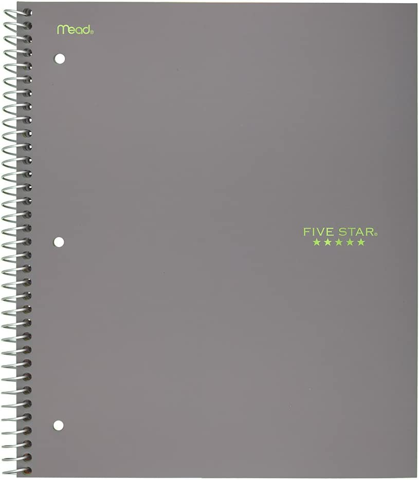 """Five Star Spiral Notebook, 3 Subject, College Ruled Paper, 150 Sheets, 11"""" x 8-1/2"""", Gray (73625)"""