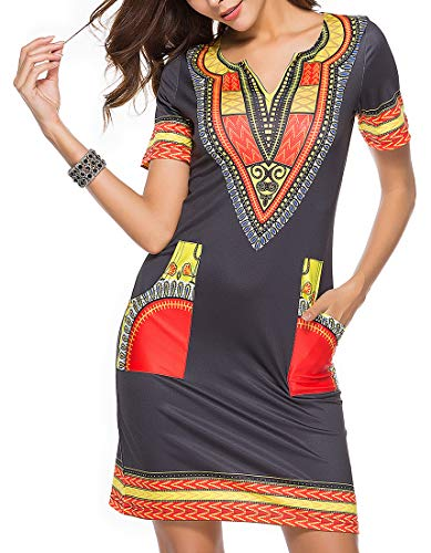 shekiss Womens Bohemian Club Midi Dresses Short Sleeve Knee Dashiki Vintage Ethnic African Wear Pockets