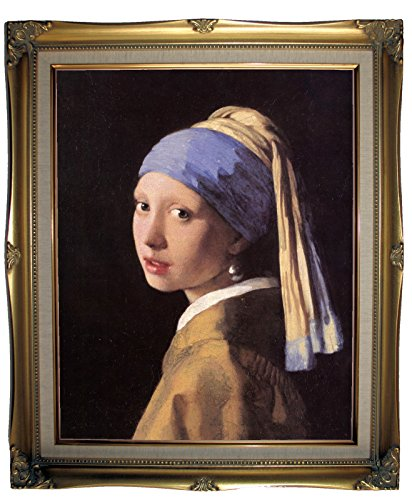 Vermeer The girl with a pearl earring - Antique Gold Lined Framed Canvas Print Repro 21x25