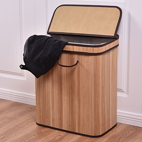 Large Rect Bamboo Hamper Laundry Basket Washing Cloth Storage Bin Bag Lid Black