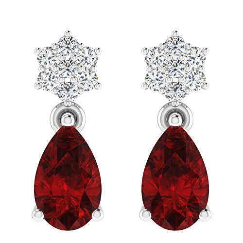 Libertini Boucle d'oreille argent 925 plaque or Rose serti de Diamant et Rubis en fArgentme de Tomber