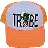 Bride Tribe Pineapple Snapback Mesh Trucker Hat Cap Bachelorette Wedding Team Neon (White BRIDE) Adult / Adjustable