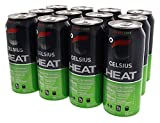 Celsius Heat Carbonated Thermogenic Pre-Workout for an Accelerated Metabolism and Healthy Energy 12/16oz Cans (Cherry Lime)