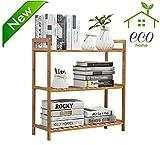 freestanding kitchen - Bamboo 3-tier Utility Shelf Shelving Unit Adjustable Display Rack Multifunctional Storage organizer Shelves freestanding Bathroom Kitchen Living Room Holder