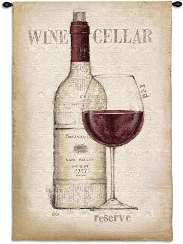 Wine Cellar | Woven Tapestry Wall Art Hanging | Minimal Red Wine Artwork | 100% Cotton USA Size 53x36