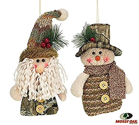 Mossy Oak Santa and Snowman Camouflage Christmas Tree Ornaments Set of 2 - Mossy Oak Santa And Snowman Camouflage Christmas Tree Ornaments Set