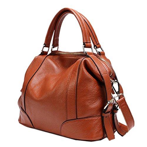 KAMIERFA Damen Freizeit Shopper Weiches Rindsleder Handtasche Crossbody Tasche Braun