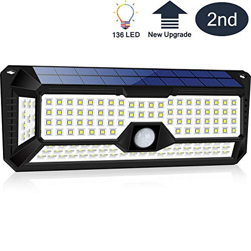 Big Solar Panel Motion Sensor Lights Outdoor,4 Sides 270 Wide Angle 136 New Upgrade Large Size Led Solar Lights Outdoor Motion Sensor Waterproof Wall Wireless Security Night Light Easy-to-Install