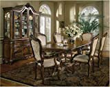 FRENCH PROVINCIAL 7PC DINING ROOM TABLE SET FURNITURE: Pedestal Table, 2 Arm Chairs and 4 Side Chairs