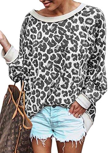 Womens Satin Sweatshirt - ECOWISH Women's Casual Leopard Print Pullover Long Sleeve Sweatshirts Top Blouse Gray XL