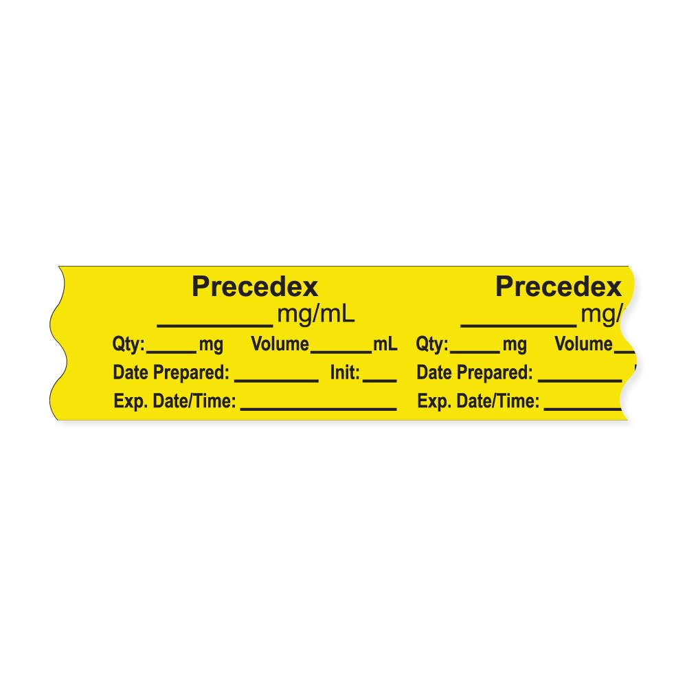 PDC Healthcare AN-2-24 Anesthesia Tape with Exp. Date, Time, and Initial, Removable, ''Precedex mg/mL'', 1'' Core, 3/4'' x 500'', 333 Imprints, 500 Inches per Roll, Yellow (Pack of 500)