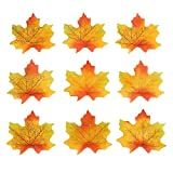 DECORA 200 Pieces Artificial Maple Leaves Fabric Fall Leaves for Autumn Party Home Decoration(Red and Yellow)
