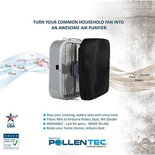 pollentec poly-flo lasko 3720 & 3723 box fan air filter only, hypoallergenic, filters 98% of airborne pollen, dust, mold spores, pet dander, washable, allergy research certified (1 pack)