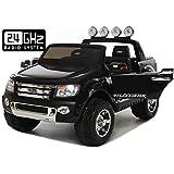 Ford Ranger Wildtrak Voiture-jouet électrique pour enfant, DEUX MOTEURS, télécommande, deux places, noir, licence Ford originale