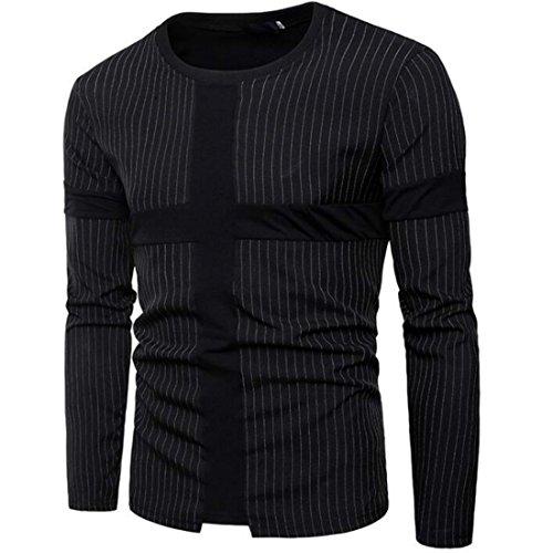 Colygamala Men's Fashion Cross Stitch Stripe Design Long-Sleeved T-Shirt 2018012902-b-XL