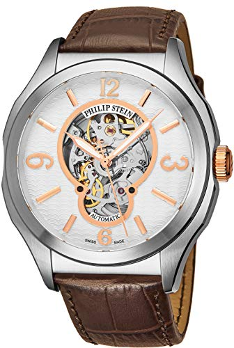 Philip Stein Prestige Skeleton Mens Automatic Watch - Analog White Open Face with Sapphire Crystal Brown Leather Band - Natural Frequency Technology Provides More Energy and Better Sleep