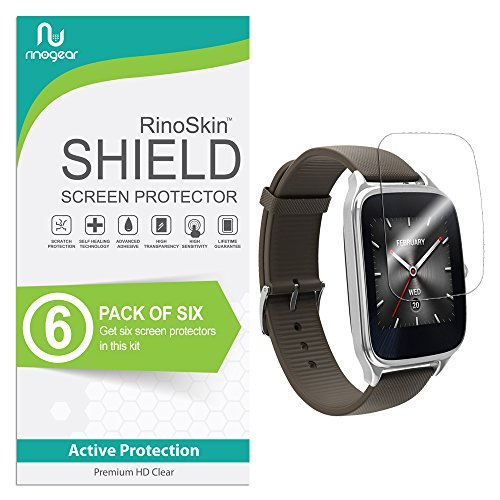 RinoGear Asus Zenwatch 2 (1.63 inch) Screen Protector [6-Pack] Case Friendly Screen Protector for Asus Zenwatch 2 Accessory Full Coverage Clear Film