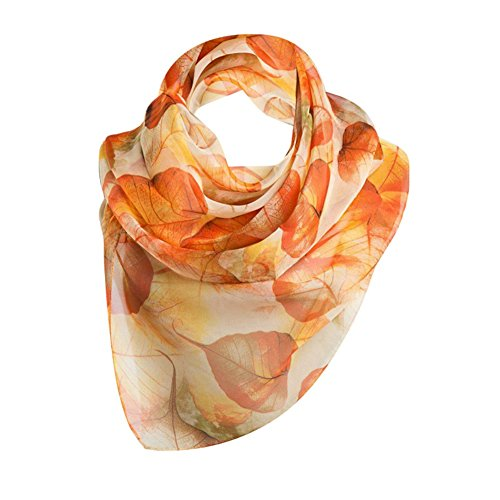 LEEZO Women Fashion Lightweight Chiffon Artistic Scarf Cover-ups Shawl Wrap Colorful Leaves Painted Orange from Leezo